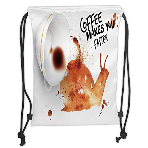 (Coffee Art,Abstract Watercolor Style Snail with Lettering Hot Morning Drink Decorative,Burnt Sienna Black White Soft Satin,5 Liter Capacity,Adjustable Str)