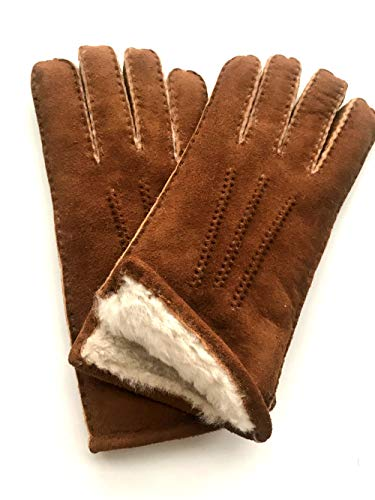 YISEVEN Women's Merino Rugged Sheepskin Shearling Leather Gloves Mittens Sherpa Fur Cuff Thick Wool Lined and Heated Warm for Winter Cold Weather Dress Driving Work Xmas Gifts, Camel Large (Mittens Norwegian)