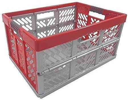 Profesional - Caja plegable TÜV certficado 45 L hasta 50 kg plata / rojo caja plegable Plástico Caja Cajón: Amazon.es: Hogar