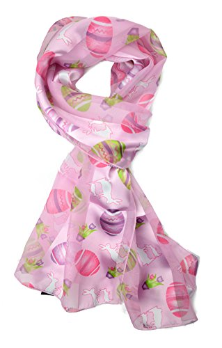 Plum Feathers Festive Holiday Christmas Halloween Easter Satin Scarf (Pink Easter Eggs)