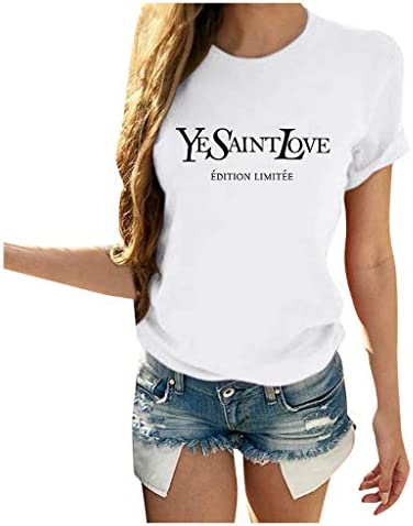 FINME YESAINTLOVE Shirt Womens Letter Print Short Sleeve T-Shirt Casual Loose Summer Tops Classic Graphic Tees
