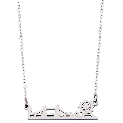(KUIYAI London City Skyline Necklace Dainty Architectural Jewelry (Silver)