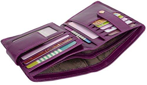 (YALUXE Women's Small Genuine Leather Bi-Fold Wallet Multi Card Organizer with Zipper Pocket Purple)