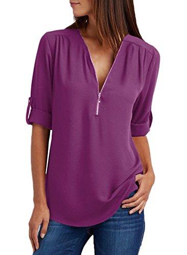 Maglie Unita profondità Forti Maglietta Blusa Camicie Top Tinta Sciolto Taglie Regolabile a V Manica Sexy Chiffon Lunga Viola Donna Collo Zip xqZfSgww