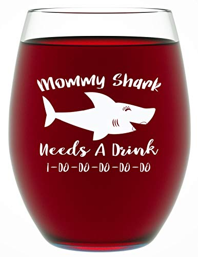 Gifts For Mom - Mommy Shark Needs A Drink - Mom Gifts - Funny 15 OZ Stemless Wine Glass For Mom by Funny Bone Products