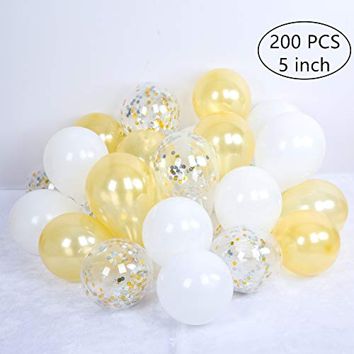 Tim&Lin 5 inch Gold Confetti and White Premium Latex Balloons - Party Decoration Supplies Balloons - Great for Wedding, Birthday, Bridal/Baby Shower, or Any Parties and Events, Pack of 100 -