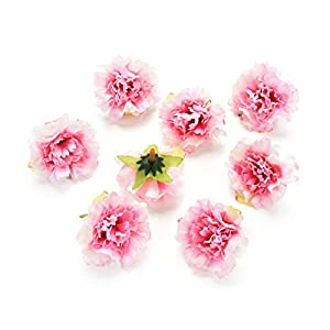 Flower heads in bulk wholesale for Crafts Silk Artificial Carnation Cherry Blossoms Flower Head Wedding Home Decoration DIY Corsage Wreath Fake Flowers Party Birthday Decor 30pcs 5cm (Colorful) 4