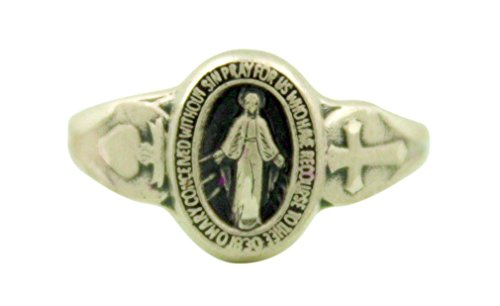 Ladies Sterling Silver Our Lady of Grace Miraculous Medal Ring, Size 5