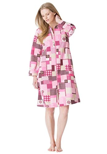 Dreams & Co. Women's Plus Size Short Fleece Zip Front Robe Pink Patchwork,2X
