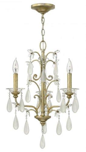 (Fredrick Ramond FR40313SLF Three Light Up Chandelier with Etched Crystal Tear Drop Glass, Silver Leaf)