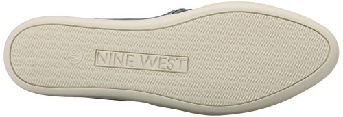 Negen West-dames Lildevil Lederen Fashion Sneaker Blauw / Off-wit