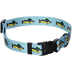 """Yellow Dog Design Walleye Dog Collar with Tag-A-Long ID Tag System-Size Large-1"""" Wide and fits Neck 18 to 28"""""""