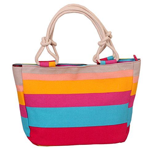 WongSinTong Large size Canvas Handbag One-Shoulder Bag Cotton Rope Handle Casual Tote Bag for Women (Colored Stripes)