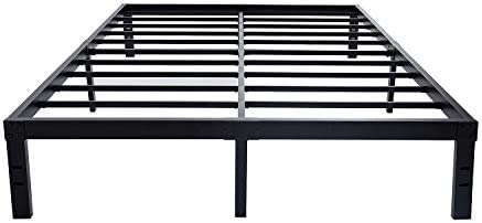HOMUS 14 Inches Steel Slat Platform Bed Frame Heavy Duty and Easy Assembly Mattress Foundation Noise-Free Box Spring Replacement Queen