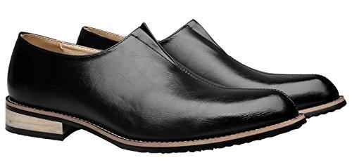 Santimon Finskor För Mens Modern Klassiker Företag Pekade Tå Loafers Slip-on Med Läderfoder Svart