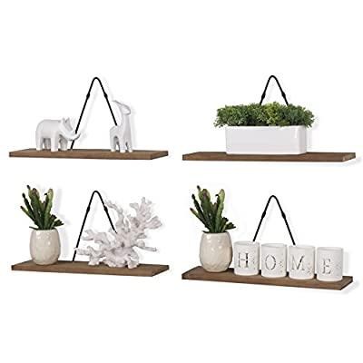 Rustic State Farmhouse Decor | Wall Mount Floating Shelves Wood with Triangle Bracket Set of 4 (Walnut) - Fits in Any Decor, No More Wobbling: The durable triangle brackets hang flat to your wall surface and the wood shelving units attach to the brackets with ease, so your shelves stay steady and solid for years to come. Made with Quality Craftsmanship: These shelves are well-constructed with high-quality iron material wall brackets. The shelves also come in the perfect size. Each shelf is 16 ½ x 4 ½ inches while the triangle brackets stand 8.25 inches tall, giving you the flexibility to dress up your walls while organizing your space with style. Goes Anywhere Perfectly: Add contemporary style and industrial flair to any space that needs a quick remodel. The beautiful decorative design with wood and iron materials blends perfectly with any room. Utilize it in your entryway, kitchen, living room, dining room, bathroom, nursery, bedroom or office space and style your room like an interior designer.. - wall-shelves, living-room-furniture, living-room - 41rOqnM4WpL. SS400  -