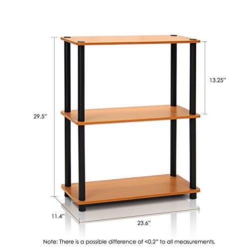 Furinno 10024LC/BK Turn-N-Tube 3-Tier Compact Multipurpose Shelf Display Rack, Light Cherry