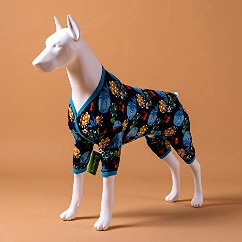 LovinPet Pijamas para perros grandes / Jersey elástico estampado de punto con estampados de la familia marina / Pijamas ligeros para mascotas / Pijamas para perros de cobertura completa Mono para perros grandes 4