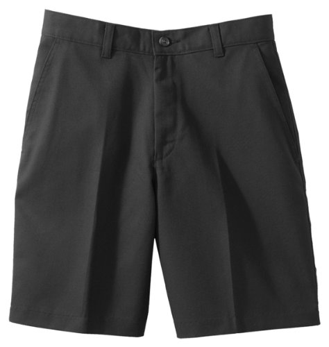 [Edwards Garment Women's Flat Front Casual Chino Blend Short, BLACK, 18W] (Misses Flat Front Shorts)