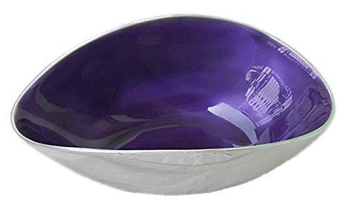 PARIJAT HANDICRAFT Handcrafted Aluminium Enameled Purple Color Serving Bowl - Home Decor Gifts Accent