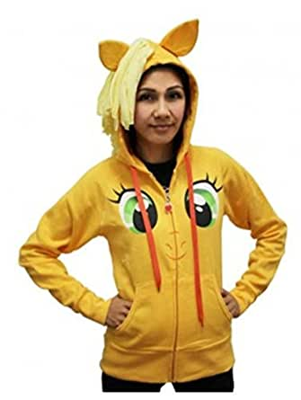 My Little Pony Applejack Face Juniors Orange Costume Hoodie with Mane (Juniors Small)