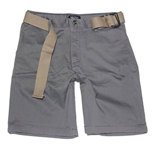 Belted Chino (Nautica Men's Belted Flat Front Chino Short, Castlerock, 34)