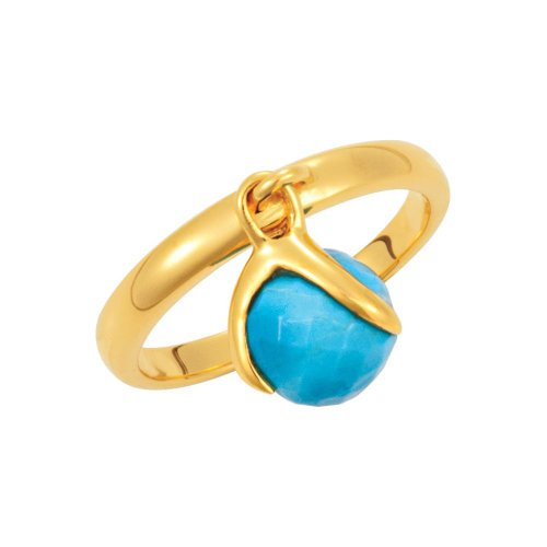 18K Yellow Gold Vermeil Turquoise Ring Size 7