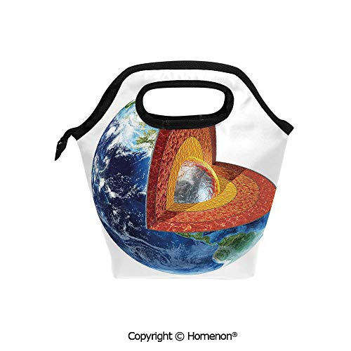 Insulated Neoprene Soft Lunch Bag Tote Handbag lunchbox,3d prited with Earth Cross Section Showing the Inner Core Geology Science Themed Structure,For School work Office Kids Lunch Box & Food ()