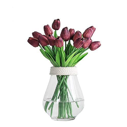 JUSTOYOU 20pcs Artificial Tulips Flowers Real Touch PU Fake Tulip Bouquet for Wedding Home Décor (burgundy)