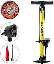 Bike Pump, IDMAX Ergonomic Bike Floor Pump Bicycle Tire Inflator Bicycle Air Pump Portable Inflator Pump with