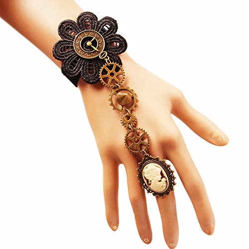 (Z&HA Women's Braided Ring Bracelet/Slave Bracelet - Roses Flower, Gear Ladies, Hyperbole, Gothic, Steampunk Bracelet Black for Carnival/Evening Party)