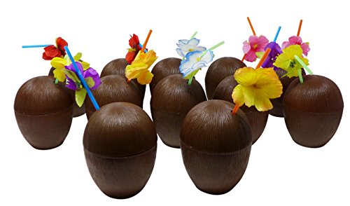 Coconut Party Cups (12-Pack Coconut Sipper Cup (Capacity - 16oz) Luau Party Drink Cups | Tropical Cocktail Cups)