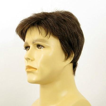 Peluca hombre cabello 100% natural marrón con pelo blanco FRANCOIS 6SPW: Amazon.es: Salud y cuidado personal