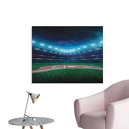 Anzhutwelve Baseball Wall Sticker Decals Professional Baseball Field at Night Vibrant Playground Stadium League Theme Print Wall Poster Green Blue W36 -