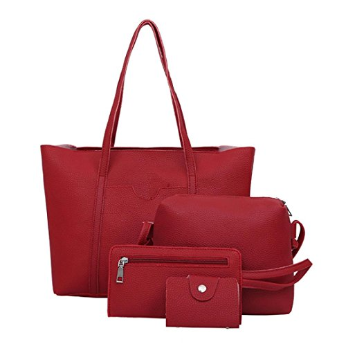 Clearance Sale! Women Four Set Handbag Shoulder Bags Four Pieces Tote Bag Wallet ?? ZYEE