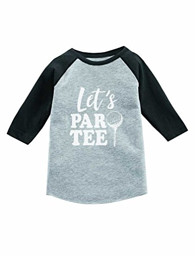 Tstars Let's Par-tee Funny Gift for Golf Lover 3/4 Sleeve Baseball Jersey Toddler Shirt 4T Dark Gray by Tstars
