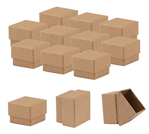 Diy Ring Box (Sdootjewelry Kraft Earring Ring Boxes, 50 Pack Square Cardboard Jewelry Gift Boxes Small Earring Ring Gift Box with Foam Insert - 1.97 x 1.97 x 1.57 Inches -)