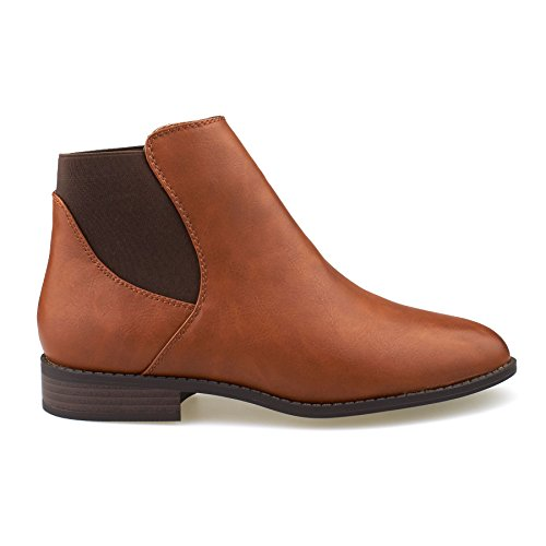 New Womens Ladies Flat Chelsea Ankle Boots Casual Low Heel Pull On Shoes Size UK 3-8 Tan VUXoBw4