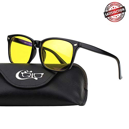 CGID CY82 Horn Oversized Blue Light Blocking Glasses,Better Sleep, Anti Glare Fatigue Blocking Headaches Eye Strain,Safety Glasses for Computer/Phone/Kindle,Vintage Bold Black Frame,Yellow Lens