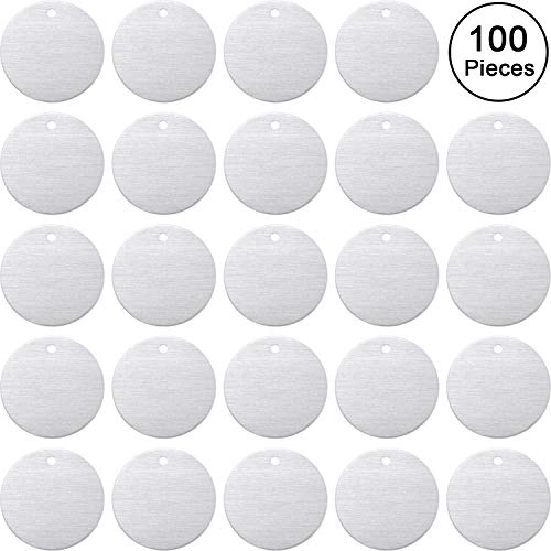 Stamping Blank Tags, 1 Inch Round with Hole Aluminum 0.06 Inch Thickness Blanks Tags (100)