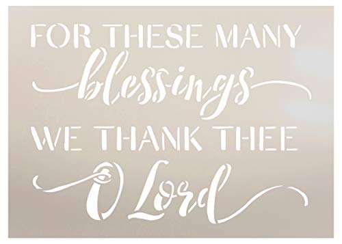 (for These Blessings We Thank Thee Lord Stencil by StudioR12 | Wood Sign | Word Art Reusable | Family Dining | Painting Chalk Mixed Multi-Media | DIY Home - Choose Size (18