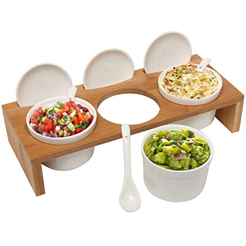 (3 Pcs) 3.5-Inch Ceramic Condiment Dip Sauce Ramekins Set w/Lids & Spoons on Bamboo Sampler Serving Tray ()