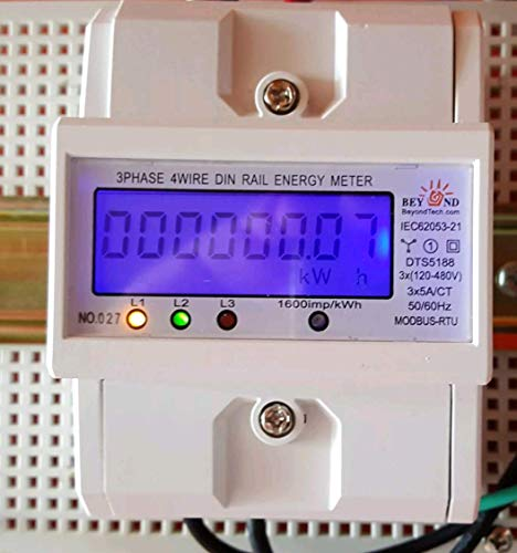 Smart energy meter 1 2 or 3 phase 120V/480V. 2x200:5 Amps included by BeyondTech.com (Image #1)