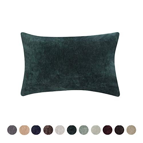 (Loom & Mill Christmas Decor Chenille Velvet Soft Solid Throw Pillow Cover Warm Cushion Cover Case for Sofa Bedroom Study with Zipper Hidden - (12 X 20 Inch, Deep Green))