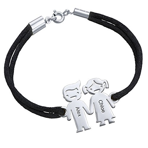 Bracelet with Kids Holding Hands Charms - Personalized Gift For Mom