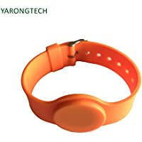 YARONGTECH ISO 14443A MIFARE Classic 1K adjustable Orange Color Silicone material nfc wristband,rfid bracelet,rfid wristband (pack of 5)
