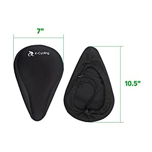 X-Cycling Gel Bike Seat Cushion or Bike Saddle Cover – Ideal as Padded Mountain Bike Seats' Cover or Spinning Bike Seat Cushion – Non-Slip, Comfortable, Adjustable and Easy to Install – Cool Design