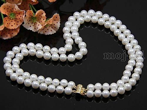 FidgetFidget Fashion Women's 2 Rows 7-8mm Natural White Freshwater Pearl Necklace 18