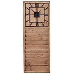 Stone & Beam Farmhouse Decor Wall Clock and Mail Storage Organizer - 38 Inch, Wood with Black Detail