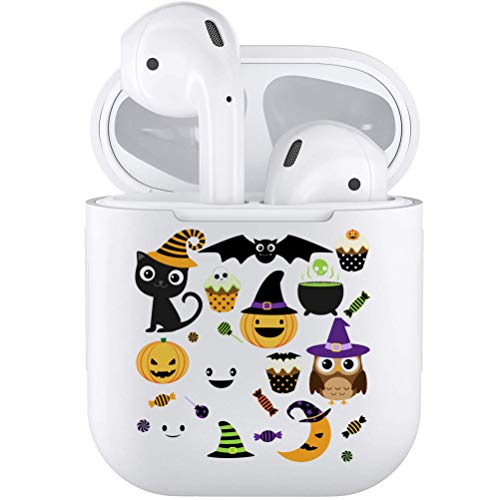 Silicone TPU Cute Accessories Holder Case Cover Skin with Keychain Compatible with Airpods Air Pods 1 2 Halloween Icons -